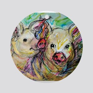 Pig Pair, cute, art, Ornament (Round)